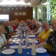 An American rivercruise group ready to taste Romanian dishes