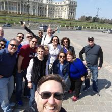 A group from US enjoying a tour of Bucharest before their one month of hard work here
