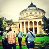 Rick Steves and his crew during their shooting for the TV episode about Romania